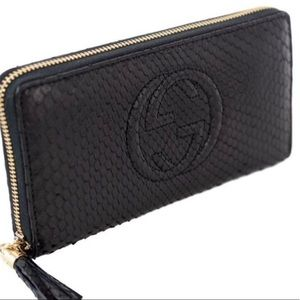 Authentic Gucci Black python clutch wallet